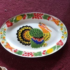 Vintage metal painted Turkey platter Thanksgiving